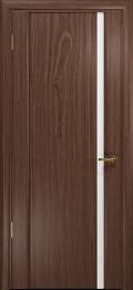 дверь Спациа-1 ДО Американский орех с вставкой из стекла белый триплекс