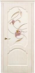 дверь Барселона ДО Ясень белый с витражом Орхидея