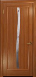 дверь Лютэа–S ДО Красное дерево с вставкой фьюзинг